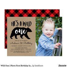 Wild One Photo First Birthday Invitation Birthday, Rustic Birthday Parties, Lumberjack Birthday Party, Wild One Birthday Party, First Birthday Parties, First Birthdays, Birthday Ideas, Baby Birthday, Yellow Birthday, 16th Birthday