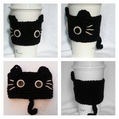 Ganchillo gato taza acogedor negro gatito gato por QuiltNCrochet
