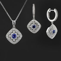Blue Sapphire & Diamond Earrings and Necklace Set in 14K White Gold
