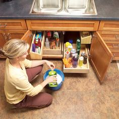 Build these handy under sink storage trays in a weekend. You can tackle this project with simple carpentry tools and some careful measuring. Under Kitchen Sinks, Cheap Kitchen Cabinets, Kitchen Cabinet Storage, Storage Cabinets, Kitchen Organization, Storage Drawers, Door Storage, Diy Cabinets, Kitchen Shelves