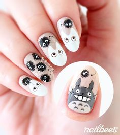 My Totoro Inspired Nail Art with a tutorial! I used Cherish from piCture pOlish as the background. My Totoro Inspired Nail Art with a tutorial! I used Cherish from piCture pOlish as the background. Diy Nails, Cute Nails, Pretty Nails, Nail Nail, Picture Polish, Nail Art Totoro, Kawaii Nail Art, Flamingo Nails, Anime Nails