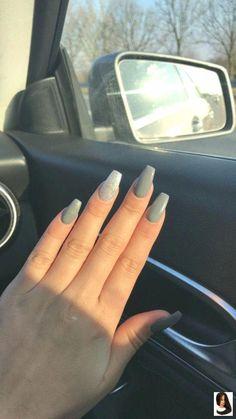 #gray Acrylic Nails #Nails #silvernails Nails♂️ #silvernails        Nails♂️ #silvernails #acrylicnailsshort #AcrylicNailsGlitter Gray Nails, Aycrlic Nails, Silver Nails, Cute Nails, Pretty Nails, Hair And Nails, Fall Nails, Acrylic Nails Coffin Short, Simple Acrylic Nails