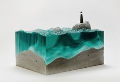Ben Young creates astonishing glass sculptures that look just like ocean waves. Young puts layer upon layer of hand-cut laminated glass sheets and then hand-carves them into waves and other water forms. Water Sculpture, Concrete Sculpture, Sculpture Art, Concrete Art, Cement, Superflat, Landscape Model, Laminated Glass, Colossal Art