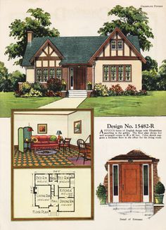 United States, Design No. A one-story cottage with a back door sheltered by a bedroom's protruding closet. ColorKeed Home Plans by William A. Cottage Style House Plans, Bungalow House Plans, New House Plans, House Floor Plans, Vintage House Plans, Vintage Homes, Tudor Style Homes, Stucco Homes, Tudor House