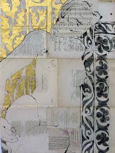 Robert Kushner(American, 1949)/ ELIZABETH 2010 From 30 Literary Nudes/ ACRYLIC, GOLD LEAF, OIL, INK, COLLAGE ON ANTIQUE PAPER