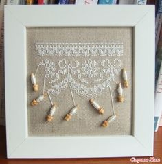 cross stitch with real bobbins A great way to use the bobbins I have from a bobbin lace class! Cross Stitch Samplers, Cross Stitch Charts, Cross Stitch Designs, Cross Stitching, Cross Stitch Embroidery, Cross Stitch Patterns, Lace Patterns, Embroidery Patterns, Art Postal