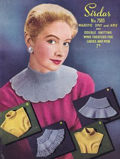 PDF Vintage 1950s Knitting Pattern Womens Mens Collar Wind