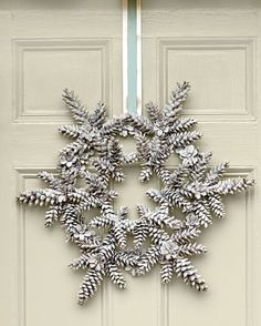 Instead of a classically shaped circular wreath, take a leap toward trendy door decor with one that's shaped like a star.
