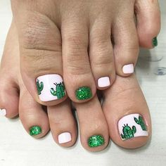Cute and Fun Cactus Toe Nail Design for Spring and Summer