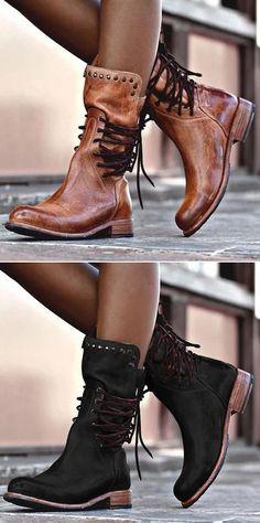 a7f528d4c5b Free Shipping! Shop Now! Back Zipper Vintage Boots Lace-