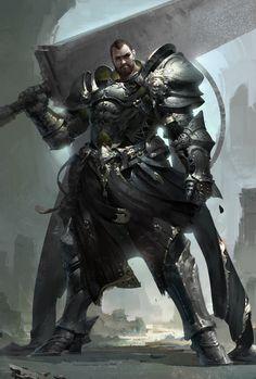 魔山, YUNLONG WEN on ArtStation at https://www.artstation.com/artwork/AEzDN. Knight warrior mega sword crushing crusaders