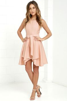 C Meo Two Can Win Peach Dress