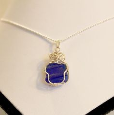 Dark blue sea glass necklace.  Sterling by Jewelrybeyondthesea