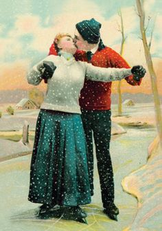 Skating Is Alright Today (Pkg Of 10 Holiday Cards) from Victorian Trading Co. Noel Christmas, Victorian Christmas, Christmas Couple, Vintage Christmas Images, Vintage Images, Vintage Holiday, Vintage Cards, Vintage Postcards, Amor Romance