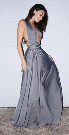 Sexy Backless Prom Dress,Long Prom Dress,Plunging Neck Sexy Prom Dresses ,Cheap Prom Dress,Gray Maxi Prom Dresses