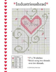 Free Valentines Cross-stitch Chart - Crochet / knit / stitch charts and graphs