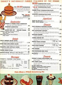 menu from Shoney's Big Boy on Morehead,Charlotte, NC , early or mid Hot fudge cake was to DIE for! Vintage Diner, Vintage Menu, Vintage Restaurant, Menu Restaurant, Vintage Signs, Vintage Ads, Vintage Food, Vintage Stuff, Diner Menu