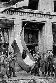 Los jóvenes rebeldes después cortaron el escudo de armas Rakosi Comunista de la bandera húngara