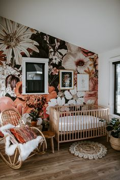 This little girl nursery featuring our East of Eden removable wall mural is so precious! Baby Room Boy, Baby Bedroom, Baby Room Decor, Nursery Room, Girl Nursery, Girl Room, Baby Girl Nurseries, Vintage Nursery Girl, Accent Wall Nursery