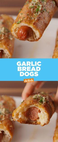 Garlic Bread Hot Dogs  - Delish.com