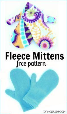 Free Fleece Mittens Sewing Pattern DIY Crush Fat Quarter Projects, Fat Quarters, Sewing Projects, Sewing, Costura