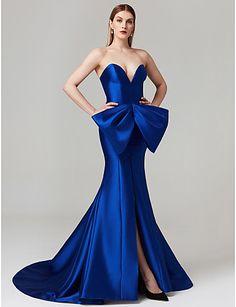 8fc21ddb50ce Sheath / Column Sweetheart Neckline Court Train Satin Formal Evening /  Black Tie Gala Dress with