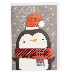 Send your grandson a special Christmas greeting with this cute and fun card. It features a penguin design with effect hat and scarf which have a metallic finish. The message inside reads 'Merry Christmas' and a white envelope is supplied. Christmas Trends, Christmas Mood, Christmas Design, Christmas Inspiration, Christmas Projects, Kids Christmas, Christmas 2014, Christmas Greeting Cards, Christmas Greetings