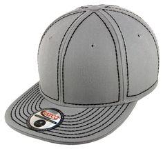 Blank Heavy Stitch Fitted Cap - Light Grey/Black