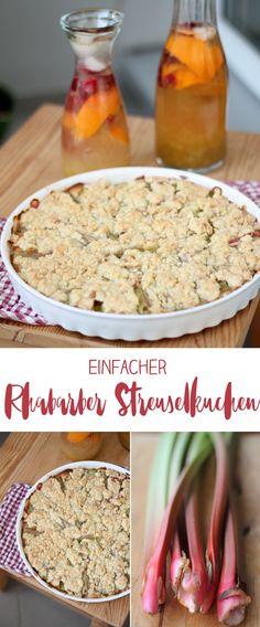 Einfacher Rhabarber Streuselkuchen - Rezeptidee mit Rhabarber #rezepte #rhabarber
