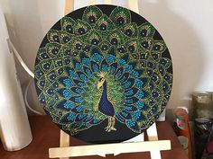 Peacock on round canvas Peacock Painting, Dot Art Painting, Mandala Painting, Ceramic Painting, Round Canvas, Mini Canvas Art, Diy Canvas, Canvas Wall Art, Mandala Design