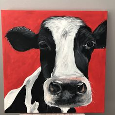 Excited to share the latest addition to my shop: Gorgeous George acrylic on canvas painting. Cow Paintings On Canvas, Cow Canvas, Acrilic Paintings, Diy Canvas Art, Acrylic Painting Canvas, Animal Paintings, Canvas Crafts, Acrylic Art, Painting Art