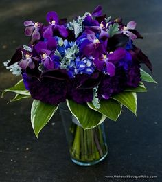 Eggplant or Aubergine Callas and Carnations - Add some hanging crystals and I'm all set!