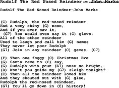 Song Rudolf The Red Nosed Reindeer by John Marks, with lyrics for vocal performance and accompaniment chords for Ukulele, Guitar Banjo etc.