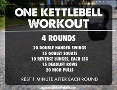 For this kettlebell workout, you'll be using one kettlebell for all exercises throughout the entire workout. Pick a weight that you can move with steady speed, yet will still challenge your strength.