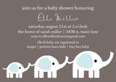 Elle- Custom Elephant Baby Shower Invitation