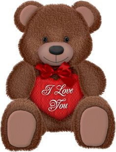 Valentines Day Brown Teddy with Red Heart PNG Picture