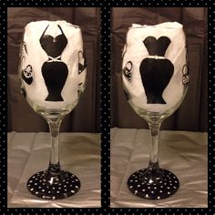 Hand Painted Wine Glasses Evening Gown Dresses
