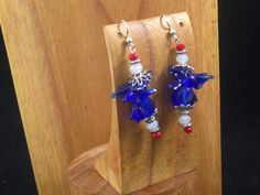 Fourth of July - Handmade Beaded Earrings - The Dragon is Partying by TheWarriorsJewelry on Etsy