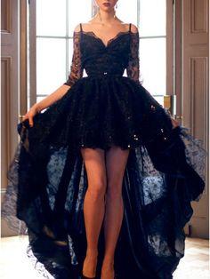 Hi-low prom dress, black lace prom dress, half sleeve prom dress, sexy prom dress, v-back prom dress, cheap prom dress,PD190444