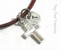 BOYS CROSS Necklace First COMMUNION Custom by TinyTreeTreasures