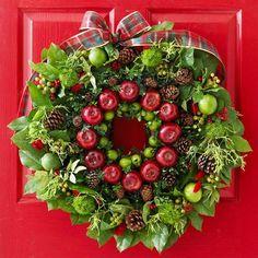 weihnachtliche Deko ideen türkranz apfel