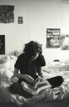black white book room girl woman