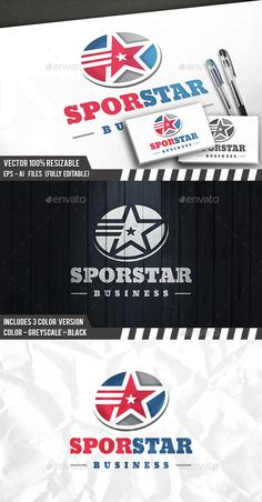 Sport Star Logo by BossTwinsArt Package Professional Design Vector resizable. You can change text and colors very easy using the named and organized layers t Logo Design Template, Logo Templates, Mobile Logo, Security Logo, Water Logo, Real Estate Logo Design, Medical Logo, Tree Logos, Abstract Logo