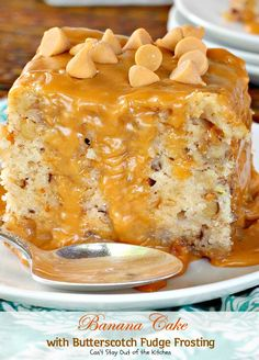 Banana Cake with Butterscotch Fudge Frosting   Can't Stay Out of the Kitchen   this scrumptious #banana #cake is drizzled with a luscious #butterscotch #fudge frosting to die for! #dessert