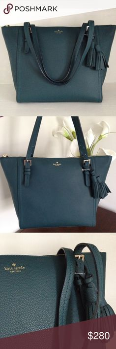 Kate Spade Orchard Street Maya Leather Tote Kate Spade New York Orchard Street - Maya Leather Tote featured in beautiful Emerald Forest soft pebbled leather!  Removable dual tassels & buckle straps, bottom feet, double top handles, top zip closure, signature bookstripe lining, interior zip, wall and phone pockets and dust bag. kate spade Bags Totes