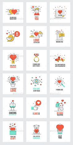 Set of Flat Line Valentine's Day Greeting Cards - Valentines Seasons/Holidays