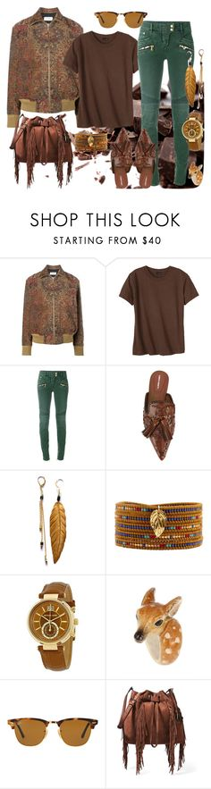 """Chocolate"" by glirendree ❤ liked on Polyvore featuring Yves Saint Laurent, Hanes, Balmain, Alberta Ferretti, Chan Luu, Michael Kors, Nach Bijoux, Ray-Ban and Diane Von Furstenberg"