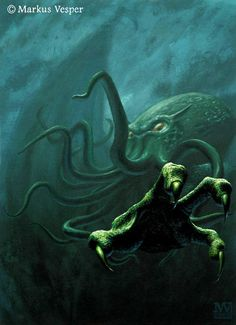 Cthulhu - [a] Giant Squid Headed God [sic] (actually an Old One a.k.a. god-like being) *snip, removed bollocks* has large cult following *snip, more bollocks removed*. Popularized by H.P. Lovecraft in his fictional mythology [used in his] book(s), [who also created] the Necronomicon.  Image by Markus Vesper.