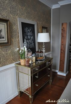 Love!! Wall color..Ashley Gray by Ben Moore and Georgetown damask wall paper from American Blinds and Wallpaper.