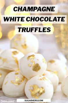 This Champagne White Chocolate Truffle recipe will make you want to bust out the bubbly! Luscious white chocolate is combined with champagne to produce silky-smooth truffles that melt in your mouth. These beautiful homemade truffles are perfect for New Year's Eve, Valentine's Day, or any celebration! #sugarhero #champagnetruffles #whitechocolatetruffles #trufflerecipe